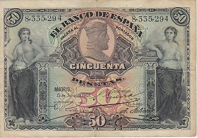 Bank Note From Spain 50 Ptas Year 1907 Very Old Banknote