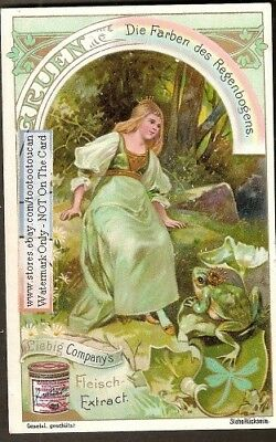 Green Frog And Princess Rainbow Art Nouveau c1900 Trade Ad Card