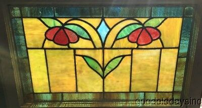 "Antique 1920's Stained Leaded Glass Transom Window 28"" by 19"""