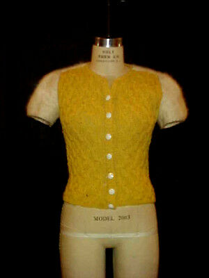 VTG 1950s KNIT TOP w/ ANGORA SHORT SLEEVES, BUTTON FRONT by PAXTON ROCKABILLY