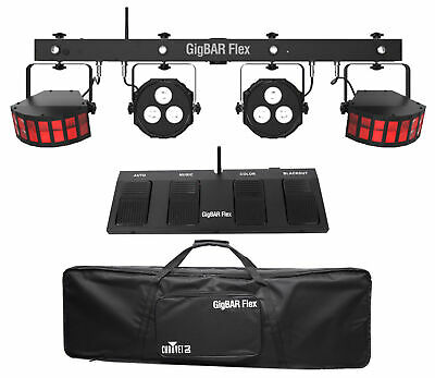 Chauvet DJ GigBAR Flex Lighting System w/ 2) Derby+2) Par Can Lights+Footswitch
