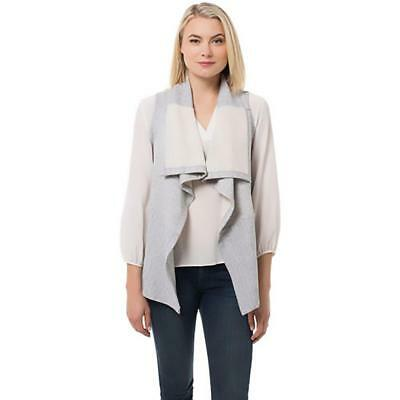 supply & demand 4788 Womens Gray Sweatshirt Open Front Marled Casual Vest S BHFO