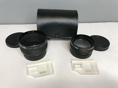 Vintage FOCAL Brand Aux Wide Angle and Aux Telephoto Lenses w/ Case Covers Japan