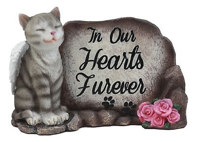 """""""In Our Hearts Furever"""" American Shorthair Grey Cat With Angel Wings Statue"""