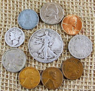 Mix  LOT of  10  OLD  U.S. Type  Coin  Collection with  some  90%  Silver  *3144