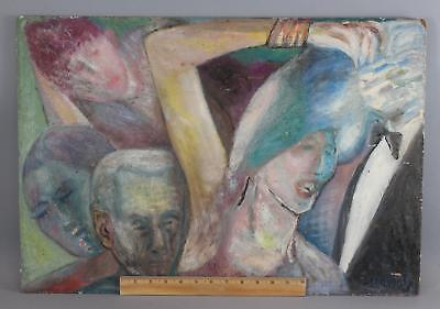 Original Mark Datz Expressionist Oil Painting, Study of Heads, No Reserve!