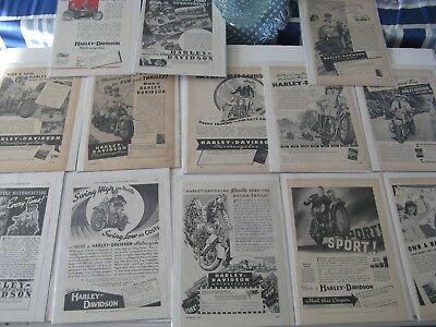 Lot of (13) Old 1930's-1940's Harley Davidson Motorcycle Print Magazine Ads