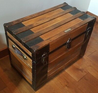 early 1900's large wood and metal trimmed trunk chest