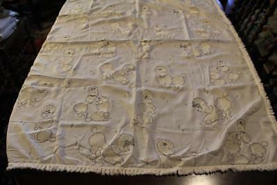 Vintage White Cotton Tablecloth 53X41 Raised Poodle Dogs & Flowers Fringe