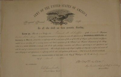 1865, Major General Henry W. Halleck, signed appointment of Hospital Steward