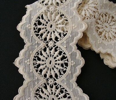 Antique Edwardian White Work Cotton Embroidered Lace Trim