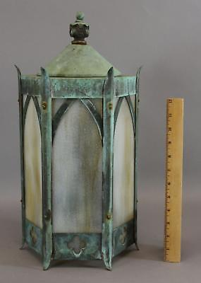 Antique Outdoor Copper, Gothic Lamp Sconce, Natural Green Verdigris, NR