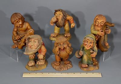 Six Antique Italian ANRI Hand Carved Wood Salvan Troll Figures NR