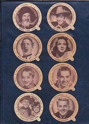 1947 DIXIE LID MOVIE STAR LOT  8 DIFFERENT MEDIUM SIZED LIDS  Authentic