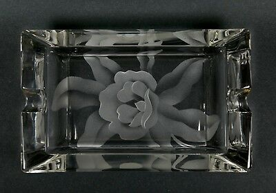 Vintage Art Deco Etched Rose Crystal Rectangular Ashtray Frosted Roses Clear