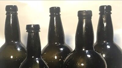 Pontiled Black Glass Applied Top Three Part Mold Rum Beer Liquor Antique Bottles