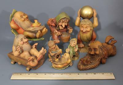 8 Antique ANRI Hand Carved Wood Salvan Troll Figures NO RESERVE!