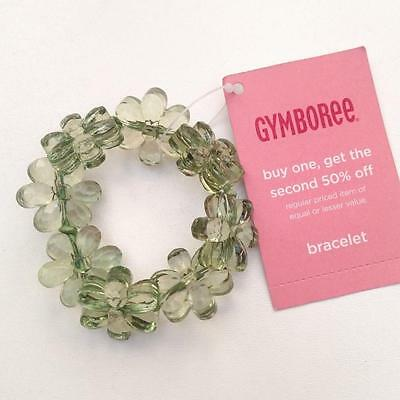 New Gymboree Girls Jungle Gem Green Sparkle Flower Bracelet Accessory