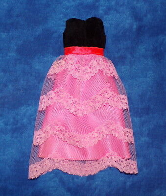 Vintage Barbie Francie Pink Lace Black Velvet Dress Gown #1232 Two for the Ball