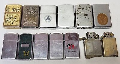 Vintage Zippo Lighters Lot Slim Advertising 40's, 60's & Later, Inserts