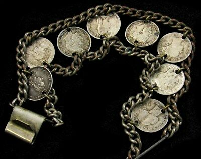Coin Bracelet Containing 8 Great Britain Silver 3 Pence Coins