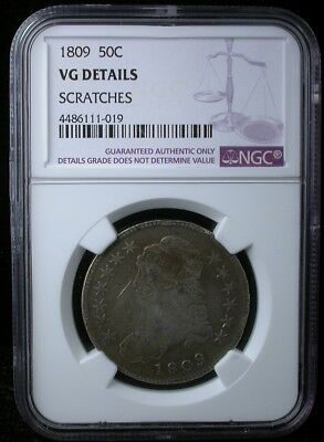 1809 50C NGC VG DETAILS 1809 CAPPED BUST HALF DOLLAR SILVER 50c