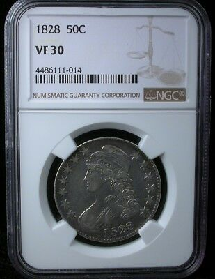 1828 50C NGC VF 30 1828 CAPPED BUST HALF DOLLAR SILVER 50c