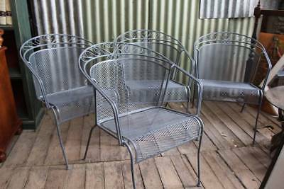 Set of Four Vintage Wrought Iron Outdoor Chairs - Armrests - Carvers - Stackable