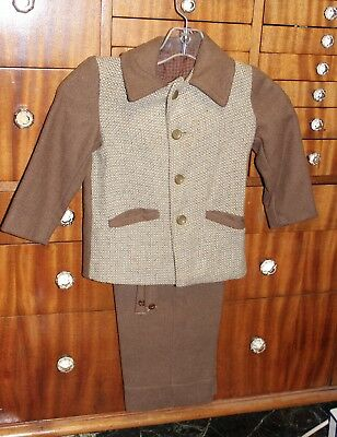 Vtg Victorian Edwardian Child Wool Suit Pants Jacket Suspenders Boys Sm Antique