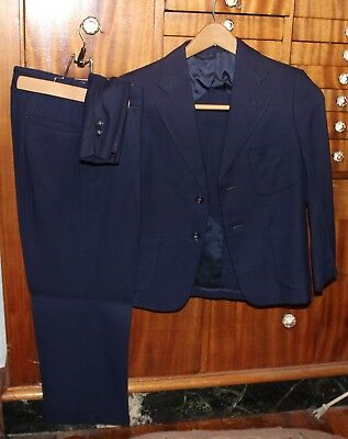 VTG 40s BLUE CHILD WOOL GABARDINE SUIT PLEATED PANTS JACKET BOY SCHOENHARD'S 24W
