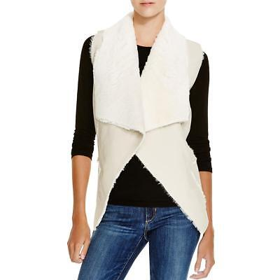Blank NYC 4643 Womens Ivory Faux Leather Faux Fur Lined Casual Vest M BHFO