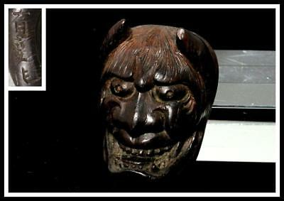 NW41 Japanese Antiques wooden small Hannya mask shape Netsuke // Japan
