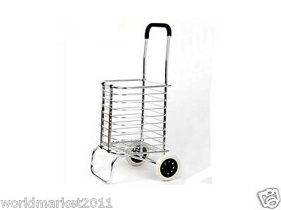 Aluminum Alloy Two Wheels Basket Convenient Collapsible Shopping Luggage Trolley
