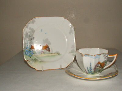 Shelley Art Deco Queen Anne Cottage 2 Tea Trio Truly Stunning