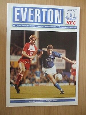 EVERTON v MIDDLESBROUGH 3rd Rd. 2nd Replay FA Cup - 17-01-90 Ex. Cond.