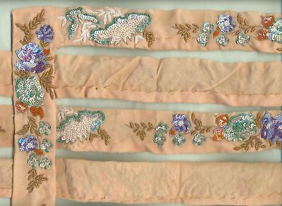"BEAUTIFUL GLASS SEQUINS BEADED HAND EMB FLORAL LACE TRIM 1.75"" x 6 Yard Long"