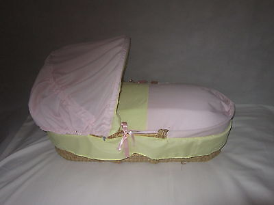 Baby/reborn Replacement  Moses Basket 3 Piece Bedding Set Cover Hood And Quilt
