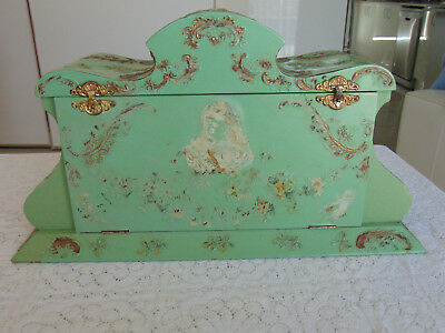 Large Antique Victorian Celluloid & Wood Vanity Box ~ Angels