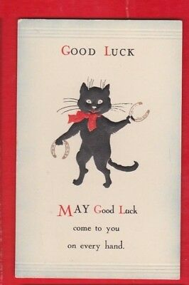 Comic, Lucky Black Cat, Good luck,  Postcard.