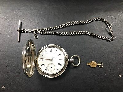 Antique Silver Fob Watch + Albert Chain (Non Working)