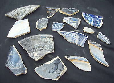 Nice study collection of Delft ware majolica pottery shards 1600's.