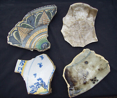 4 big parts of Delft ware majolica faience pottery bowls and plates 1600/1700's