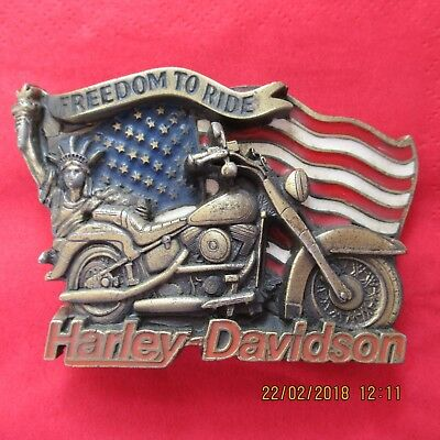1991 Harley Davidson Freedom to Ride Enamelled Metal Belt Buckle H408 Baron USA
