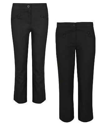 Girls School Trousers Bhs Generous / Regular Fit Black Grey Navy 4-12 Years Bnwt