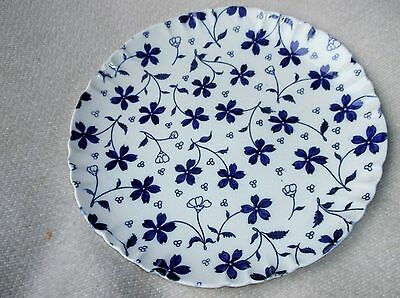 "Unusual Antique Fluted Rim Plate Mintons Deep Blue Daisy Design 8.75"" Dia"