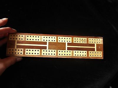 """Collectable Wooden Cribbage Board Two Colour Woods Honey & Pale 9.25"""""""
