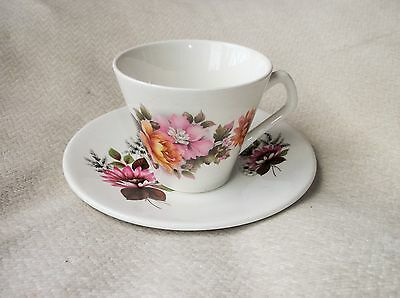 Vintage Retro Colourful Daisy Design Cup And Saucer Lord Nelson Ware