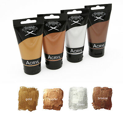 Metallic Acrylfarben Set 4x 75 ml in Kupfer, gold, silber + bronze, Artist-Quali