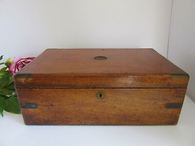 Large Antique 1800's Brass and Mahogany Campaign Writing Slope Box