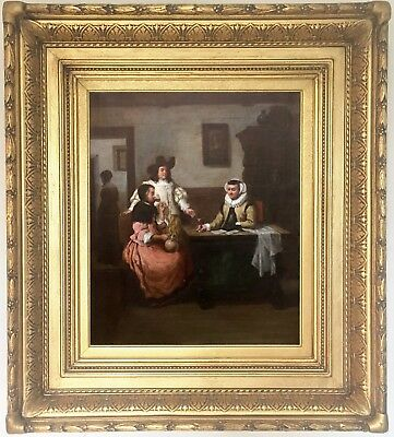 Historical Genre Scene Old Master Style Oil Painting 19th Century Dutch School